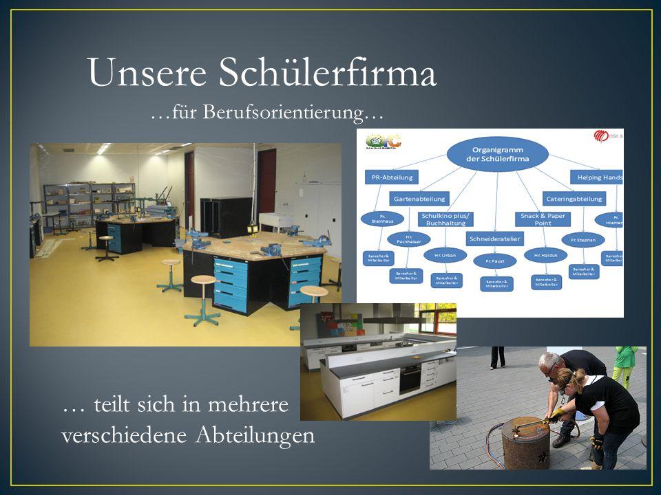 Unsere Schülerfirma …für Berufsorientierung… … teilt sich in mehrere verschiedene Abteilungen