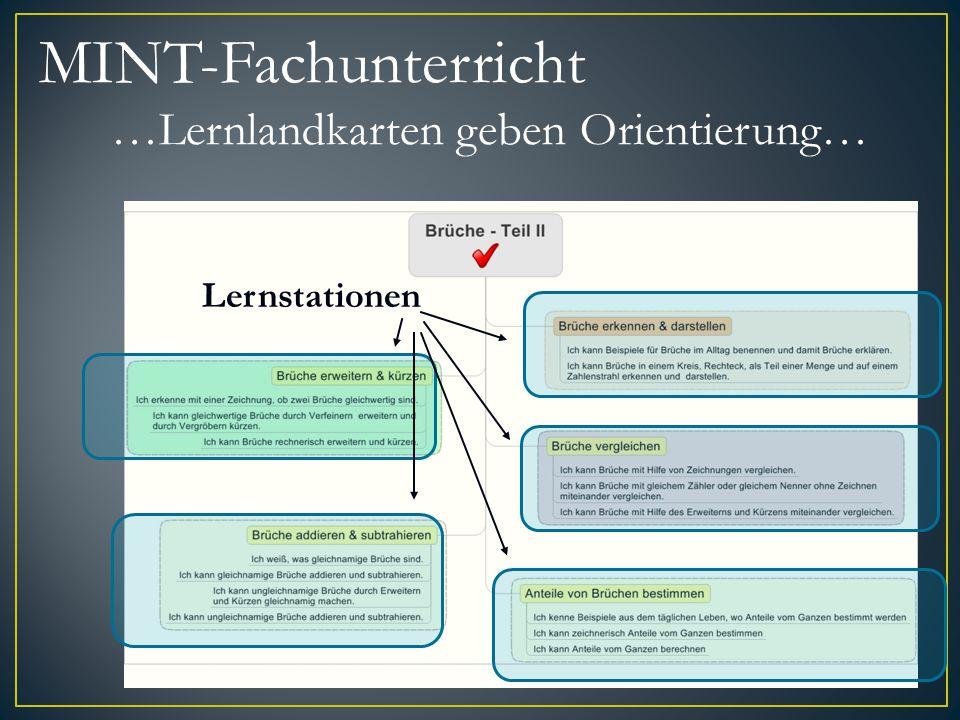 Lernstationen MINT-Fachunterricht …Lernlandkarten geben Orientierung…
