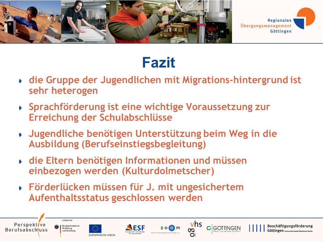 Fazit die Gruppe der Jugendlichen mit Migrations-hintergrund ist sehr heterogen Sprachförderung ist eine wichtige Voraussetzung zur Erreichung der Sch