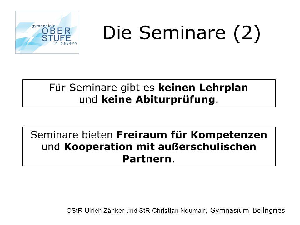 Die Seminare (2) OStR Ulrich Zänker und StR Christian Neumair, Gymnasium Beilngries Für Seminare gibt es keinen Lehrplan und keine Abiturprüfung.