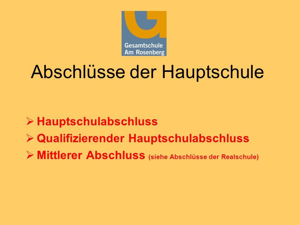 Abschlüsse der Hauptschule  Hauptschulabschluss  Qualifizierender Hauptschulabschluss  Mittlerer Abschluss (siehe Abschlüsse der Realschule)