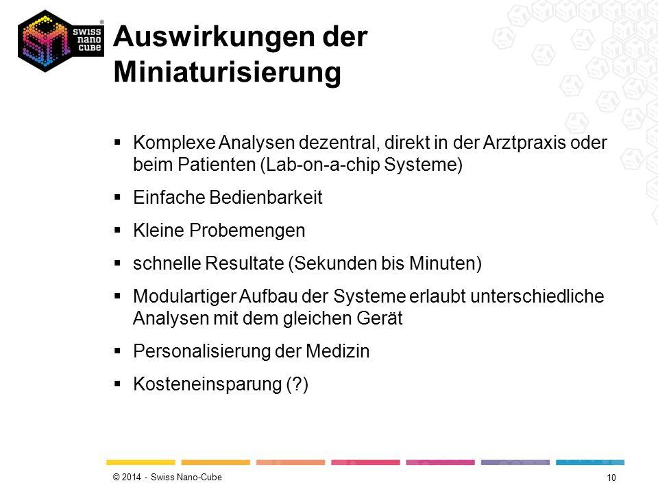 © 2014 - Swiss Nano-Cube  Komplexe Analysen dezentral, direkt in der Arztpraxis oder beim Patienten (Lab-on-a-chip Systeme)  Einfache Bedienbarkeit