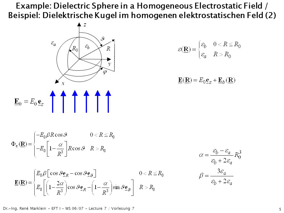 Dr.-Ing. René Marklein - EFT I - WS 06/07 - Lecture 7 / Vorlesung 7 5 Example: Dielectric Sphere in a Homogeneous Electrostatic Field / Beispiel: Diel