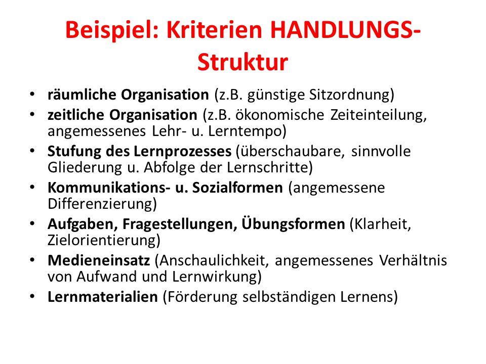 Beispiel: Kriterien HANDLUNGS- Struktur räumliche Organisation (z.B.