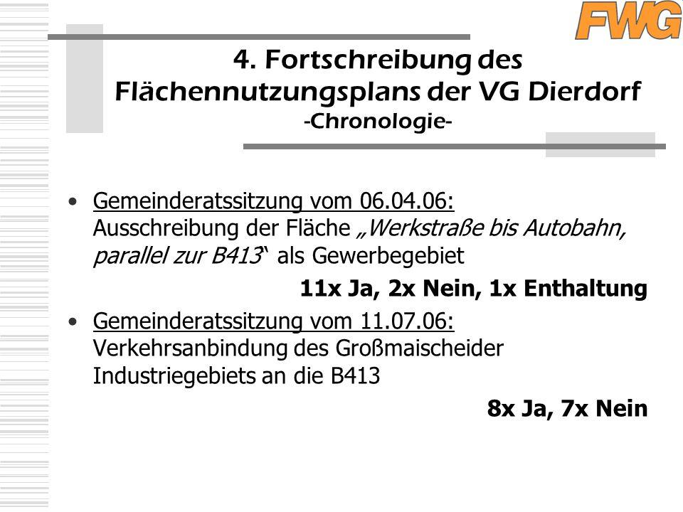 """4. Fortschreibung des Flächennutzungsplans der VG Dierdorf -Chronologie- Gemeinderatssitzung vom 06.04.06: Ausschreibung der Fläche """"Werkstraße bis Au"""