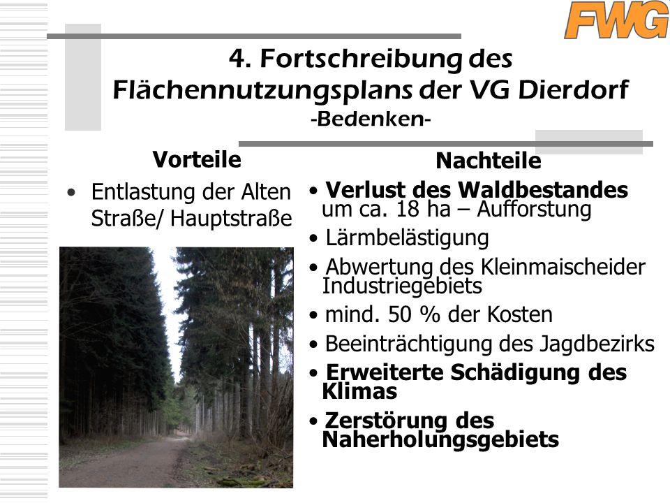 4. Fortschreibung des Flächennutzungsplans der VG Dierdorf -Bedenken- Vorteile Entlastung der Alten Straße/ Hauptstraße Nachteile Verlust des Waldbest