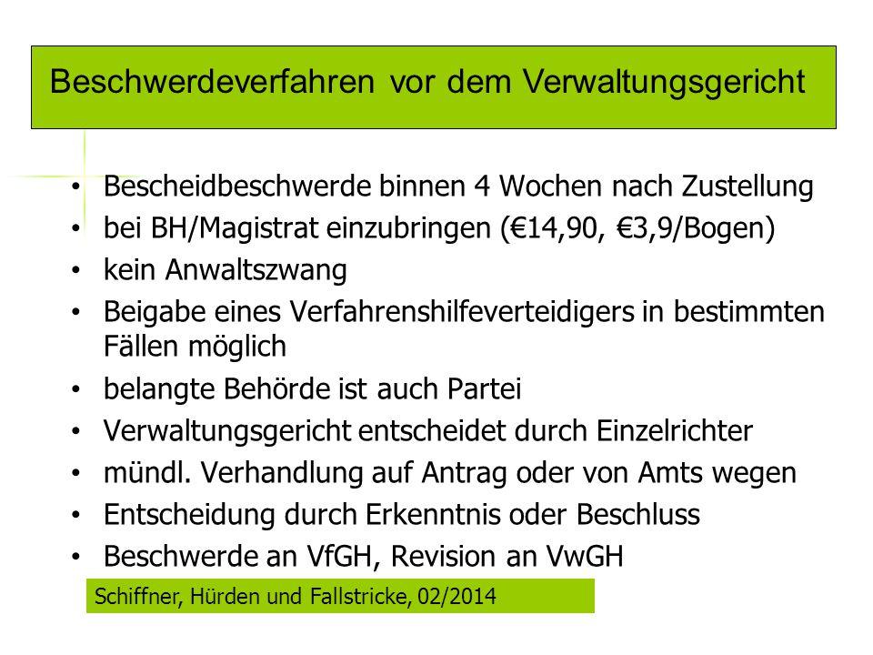Beschwerdeverfahren vor dem Verwaltungsgericht Bescheidbeschwerde binnen 4 Wochen nach Zustellung bei BH/Magistrat einzubringen (€14,90, €3,9/Bogen) k