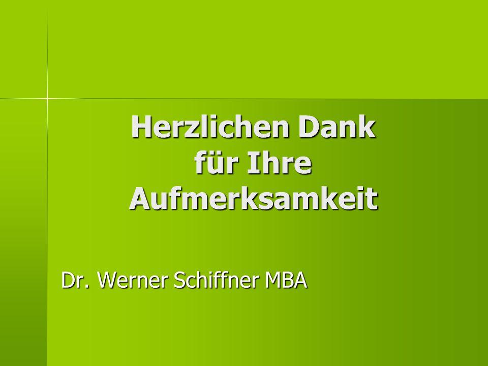 Herzlichen Dank für Ihre Aufmerksamkeit Dr. Werner Schiffner MBA