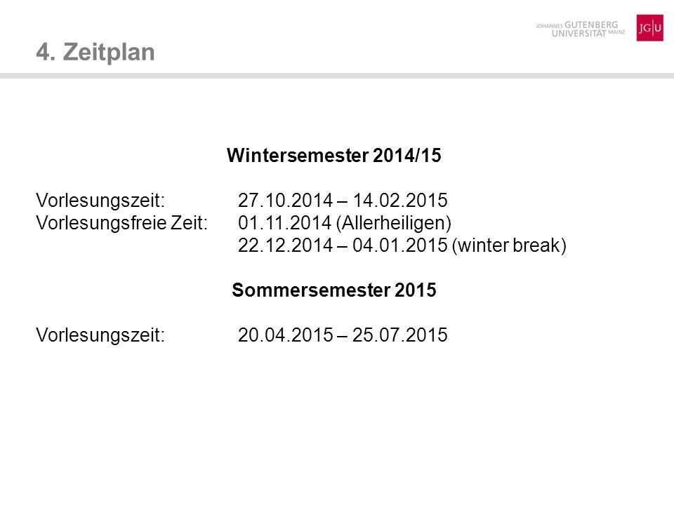 4. Zeitplan Wintersemester 2014/15 Vorlesungszeit: 27.10.2014 – 14.02.2015 Vorlesungsfreie Zeit:01.11.2014 (Allerheiligen) 22.12.2014 – 04.01.2015 (wi