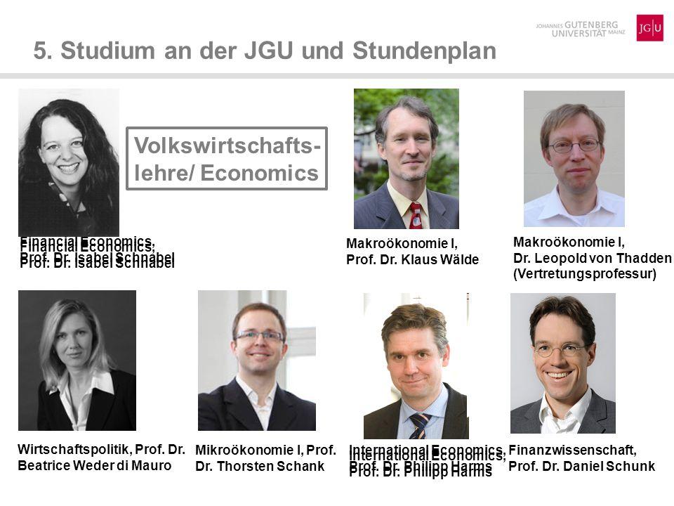 5.Studium an der JGU und Stundenplan Wirtschaftspädagogik, Prof.