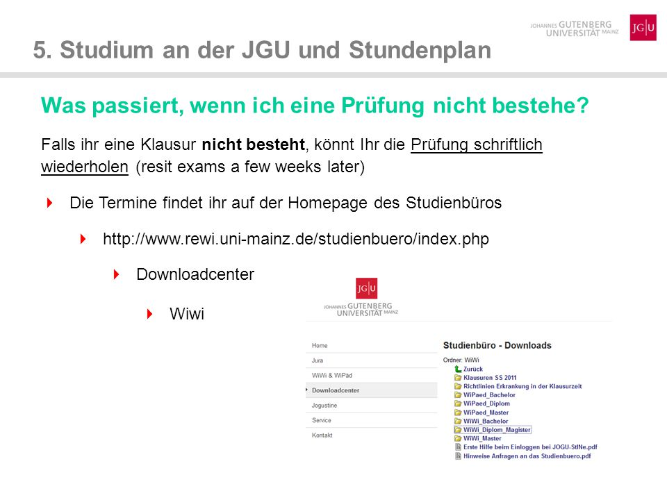 5.Studium an der JGU und Stundenplan Wie bekomme ich mein Transcript of Records.