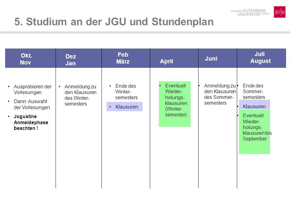 5.Studium an der JGU und Stundenplan Okt.