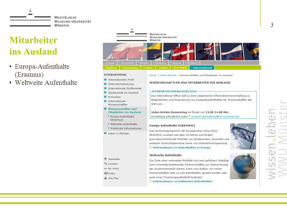 Europa-Aufenthalte (Erasmus) Weltweite Aufenthalte Mitarbeiter ins Ausland 3