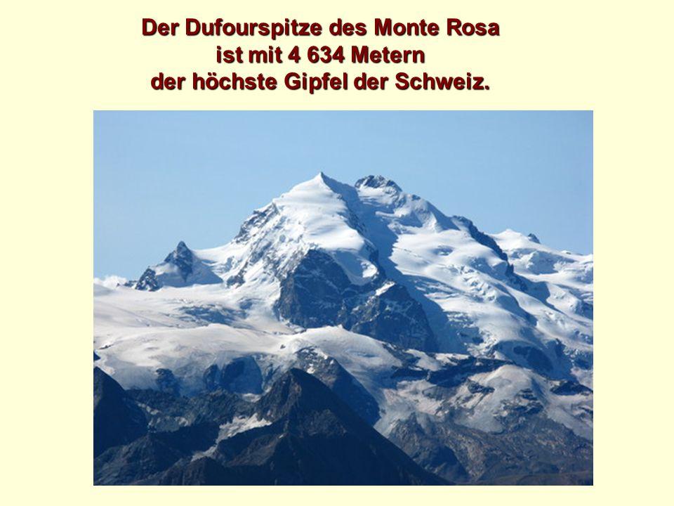 Der Dufourspitze des Monte Rosa ist mit 4 634 Metern der höchste Gipfel der Schweiz.
