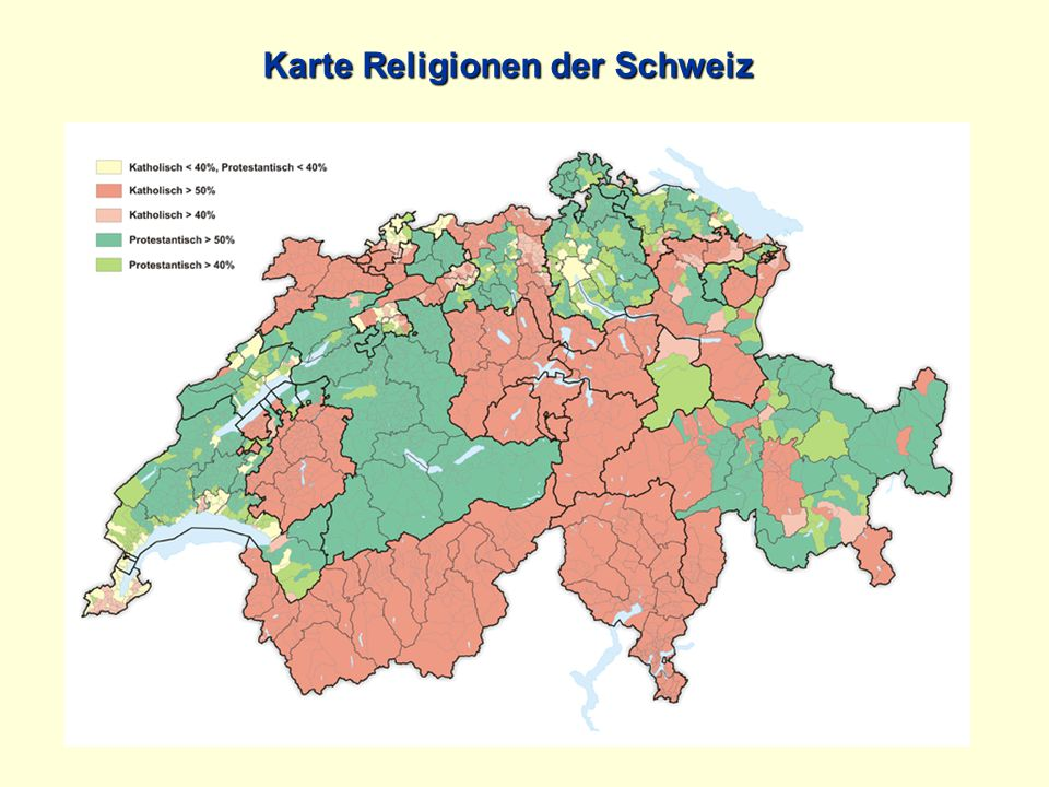 Karte Religionen der Schweiz