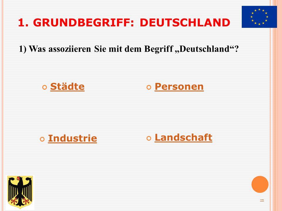 """1. GRUNDBEGRIFF: DEUTSCHLAND StädtePersonen Industrie Landschaft →→→→ 1) Was assoziieren Sie mit dem Begriff """"Deutschland""""?"""