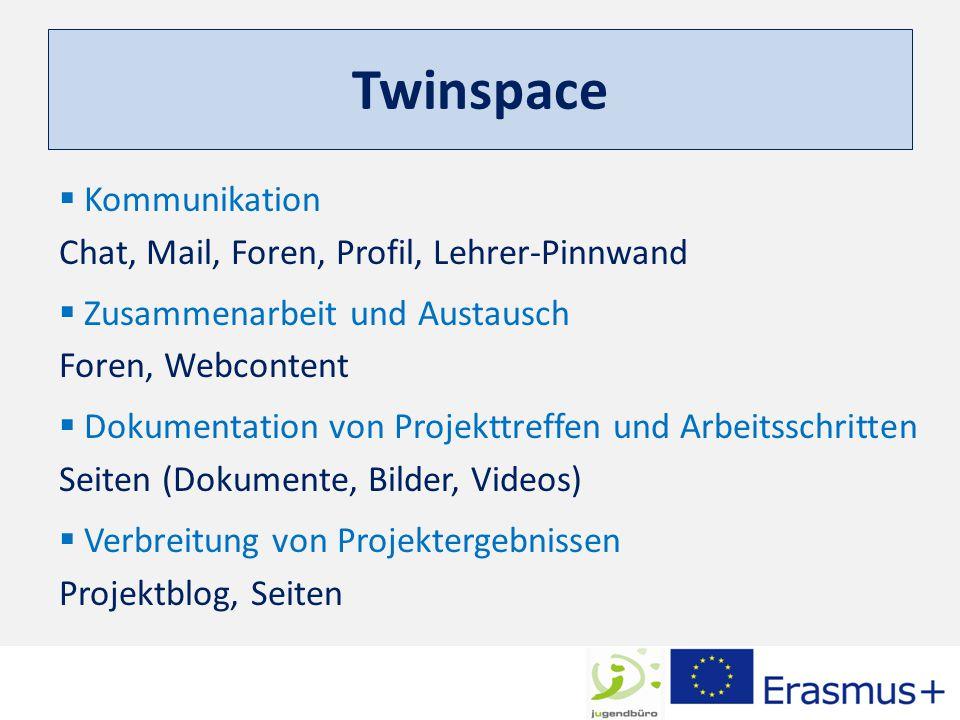 Twinspace  Kommunikation Chat, Mail, Foren, Profil, Lehrer-Pinnwand  Zusammenarbeit und Austausch Foren, Webcontent  Dokumentation von Projekttreff