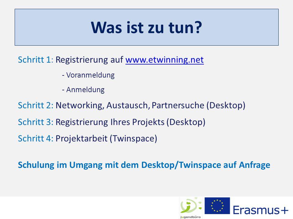 Was ist zu tun? Schritt 1: Registrierung auf www.etwinning.netwww.etwinning.net - Voranmeldung - Anmeldung Schritt 2: Networking, Austausch, Partnersu