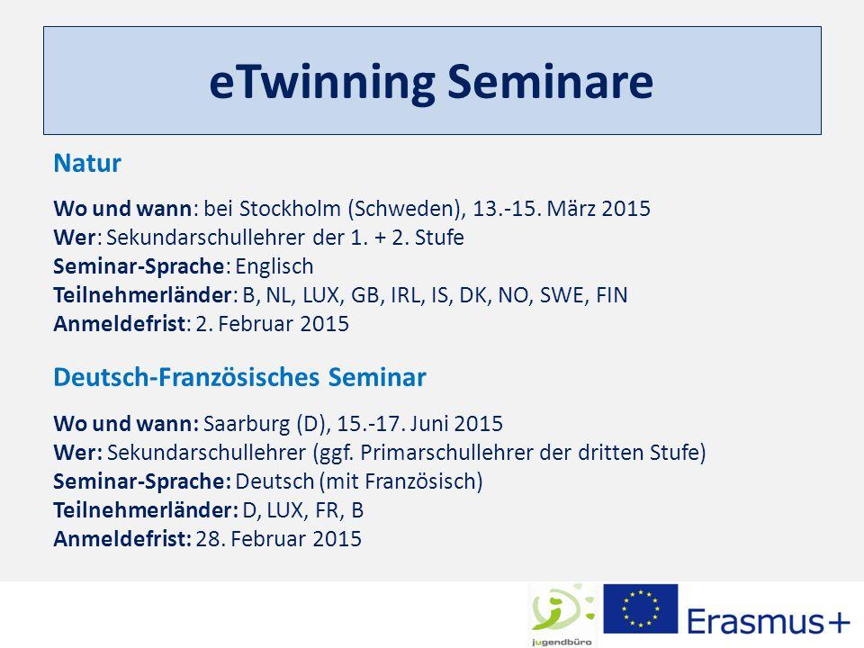 eTwinning Seminare Natur Wo und wann: bei Stockholm (Schweden), 13.-15. März 2015 Wer: Sekundarschullehrer der 1. + 2. Stufe Seminar-Sprache: Englisch
