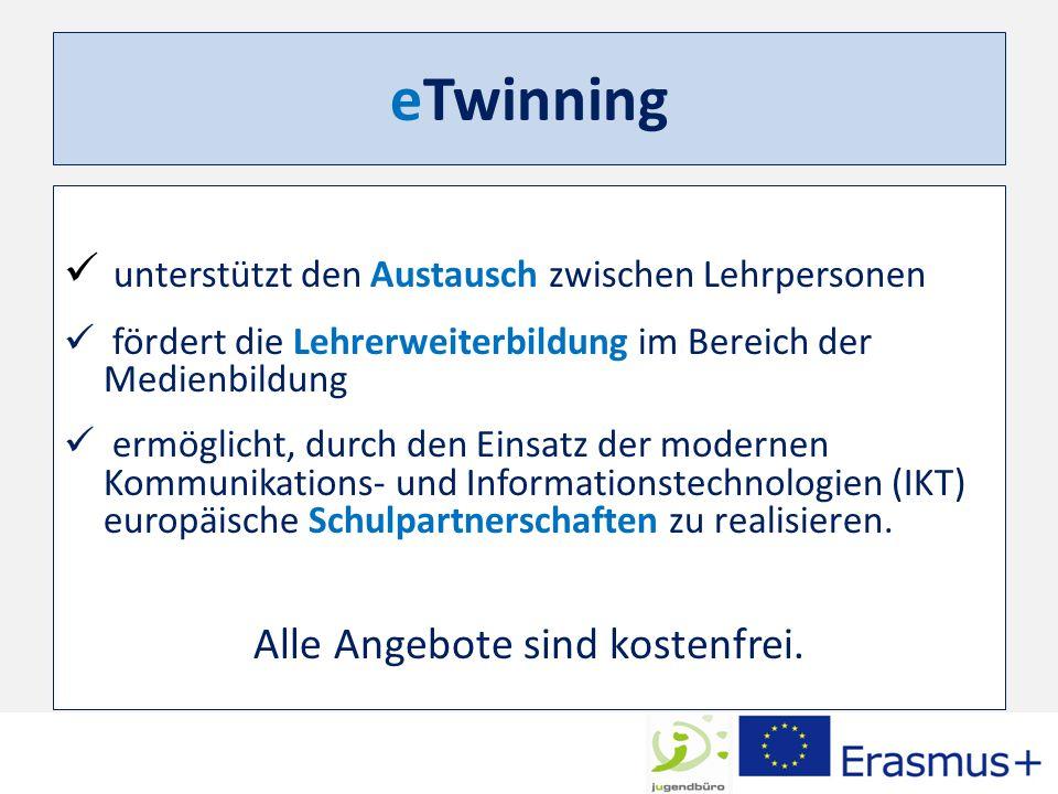 eTwinning unterstützt den Austausch zwischen Lehrpersonen fördert die Lehrerweiterbildung im Bereich der Medienbildung ermöglicht, durch den Einsatz d