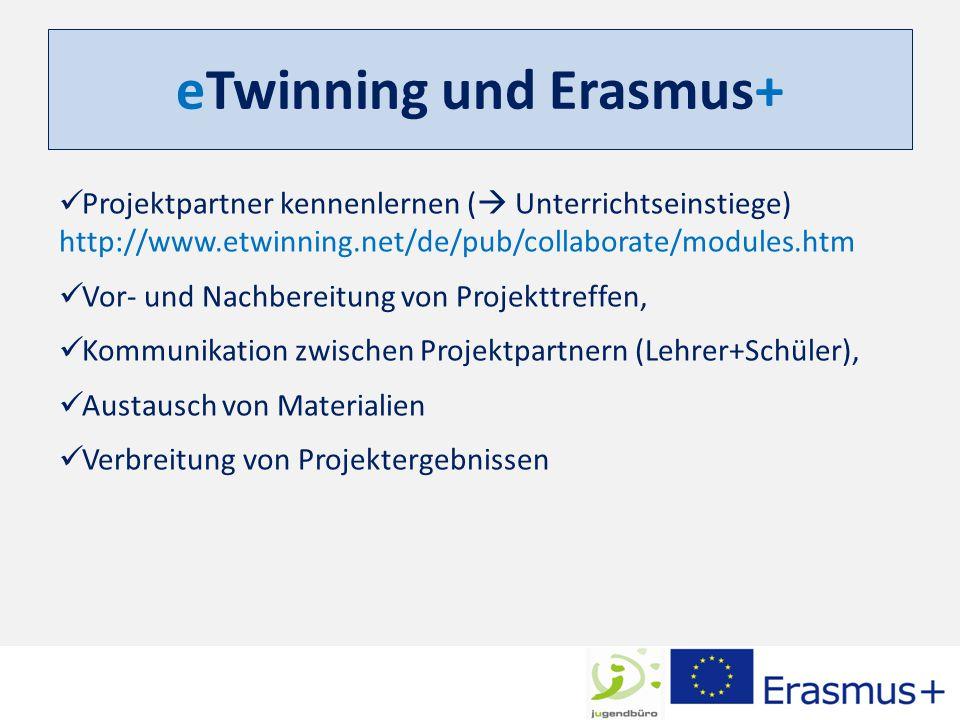 eTwinning und Erasmus+ Projektpartner kennenlernen (  Unterrichtseinstiege) http://www.etwinning.net/de/pub/collaborate/modules.htm Vor- und Nachbere