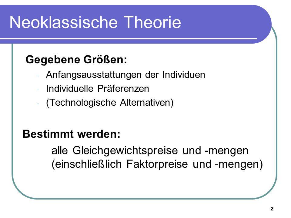 2 Neoklassische Theorie Gegebene Größen: - Anfangsausstattungen der Individuen - Individuelle Präferenzen - (Technologische Alternativen) Bestimmt wer