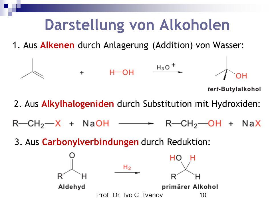 Prof. Dr. Ivo C. Ivanov10 Darstellung von Alkoholen 1. Aus Alkenen durch Anlagerung (Addition) von Wasser: 2. Aus Alkylhalogeniden durch Substitution