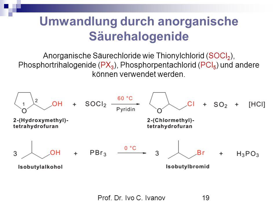 Prof. Dr. Ivo C. Ivanov19 Umwandlung durch anorganische Säurehalogenide Anorganische Säurechloride wie Thionylchlorid (SOCl 2 ), Phosphortrihalogenide