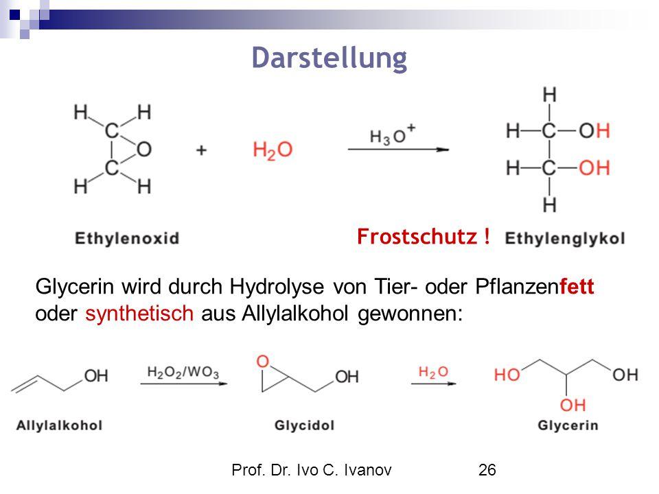 Prof. Dr. Ivo C. Ivanov26 Darstellung Glycerin wird durch Hydrolyse von Tier- oder Pflanzenfett oder synthetisch aus Allylalkohol gewonnen: Frostschut
