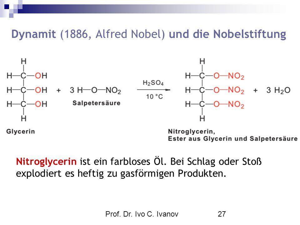 Prof. Dr. Ivo C. Ivanov27 Nitroglycerin ist ein farbloses Öl. Bei Schlag oder Stoß explodiert es heftig zu gasförmigen Produkten. Dynamit (1886, Alfre