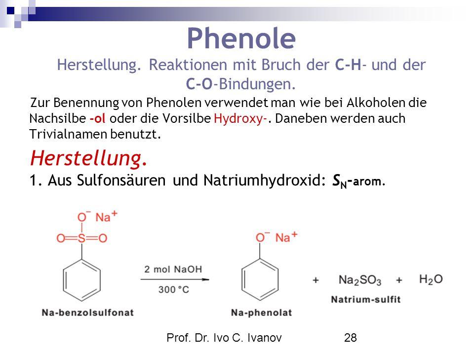 Prof. Dr. Ivo C. Ivanov28 Phenole Herstellung. Reaktionen mit Bruch der C-H- und der C-O-Bindungen. Zur Benennung von Phenolen verwendet man wie bei A