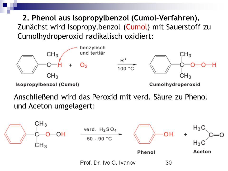 Prof. Dr. Ivo C. Ivanov30 2. Phenol aus Isopropylbenzol (Cumol-Verfahren). Zunächst wird Isopropylbenzol (Cumol) mit Sauerstoff zu Cumolhydroperoxid r