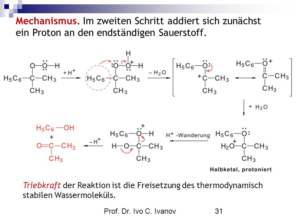 Prof. Dr. Ivo C. Ivanov31 Triebkraft der Reaktion ist die Freisetzung des thermodynamisch stabilen Wassermoleküls. Mechanismus. Im zweiten Schritt add