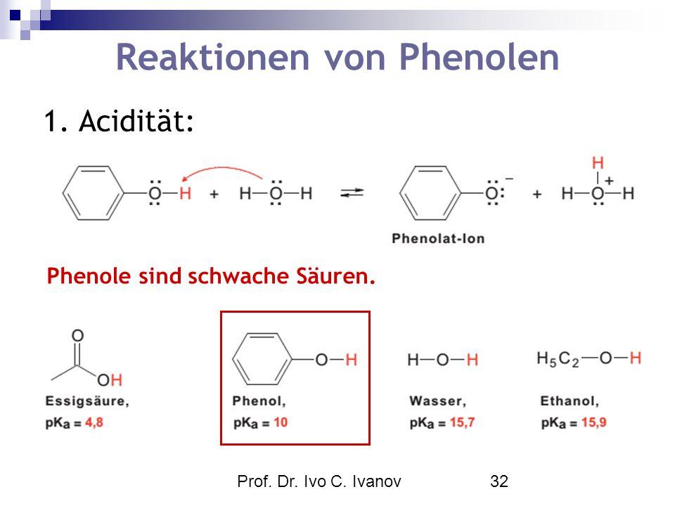 Prof. Dr. Ivo C. Ivanov32 Reaktionen von Phenolen 1. Acidität: Phenole sind schwache Säuren.
