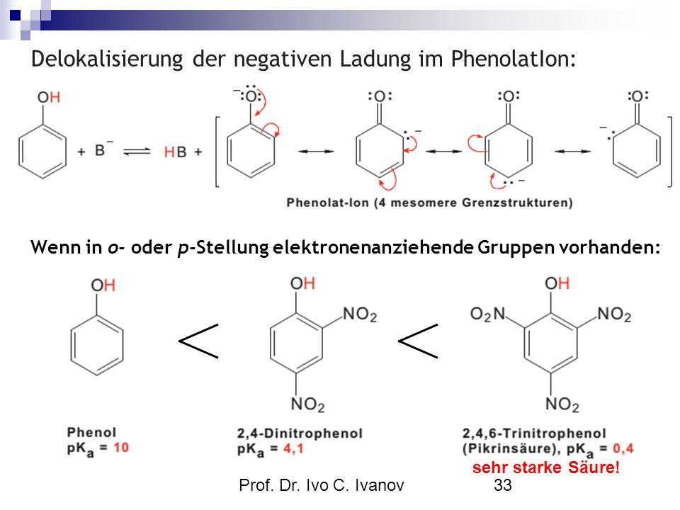 Prof. Dr. Ivo C. Ivanov33 Delokalisierung der negativen Ladung im PhenolatIon: Wenn in o- oder p-Stellung elektronenanziehende Gruppen vorhanden: sehr