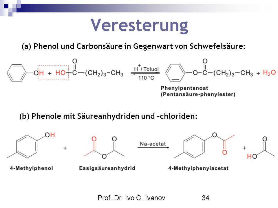 Prof. Dr. Ivo C. Ivanov34 Veresterung (a) Phenol und Carbonsäure in Gegenwart von Schwefelsäure: (b) Phenole mit Säureanhydriden und –chloriden: