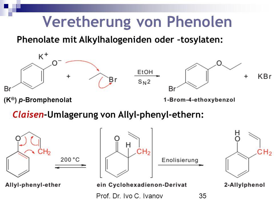 Prof. Dr. Ivo C. Ivanov35 Veretherung von Phenolen Phenolate mit Alkylhalogeniden oder –tosylaten: Claisen-Umlagerung von Allyl-phenyl-ethern: (K  )