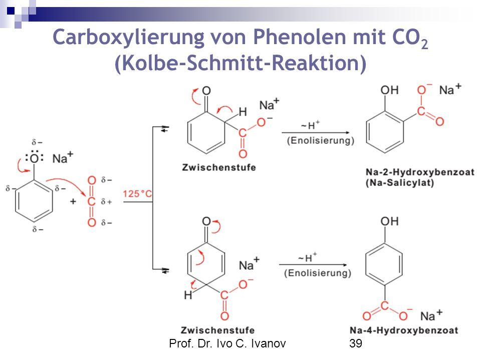 Prof. Dr. Ivo C. Ivanov39 Carboxylierung von Phenolen mit CO 2 (Kolbe-Schmitt-Reaktion)