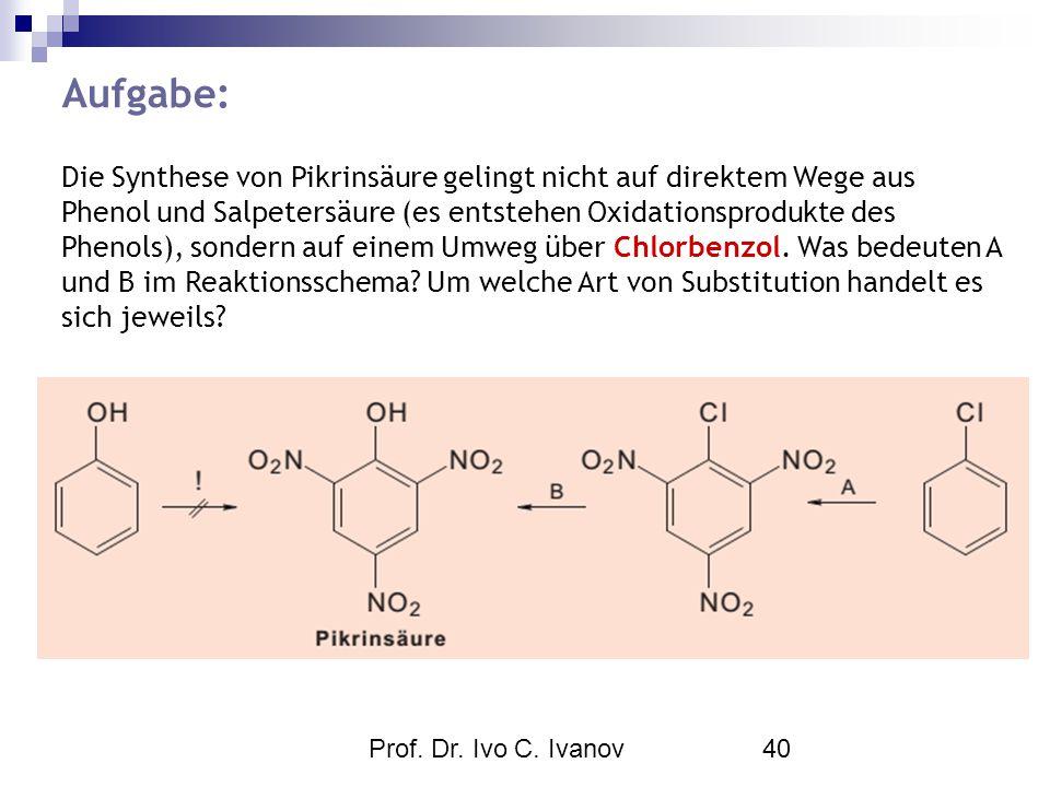 Prof. Dr. Ivo C. Ivanov40 Aufgabe: Die Synthese von Pikrinsäure gelingt nicht auf direktem Wege aus Phenol und Salpetersäure (es entstehen Oxidationsp