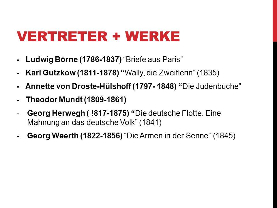 """VERTRETER + WERKE - Ludwig Börne (1786-1837) """"Briefe aus Paris"""" - Karl Gutzkow (1811-1878) """"Wally, die Zweiflerin"""" (1835) - Annette von Droste-Hülshof"""