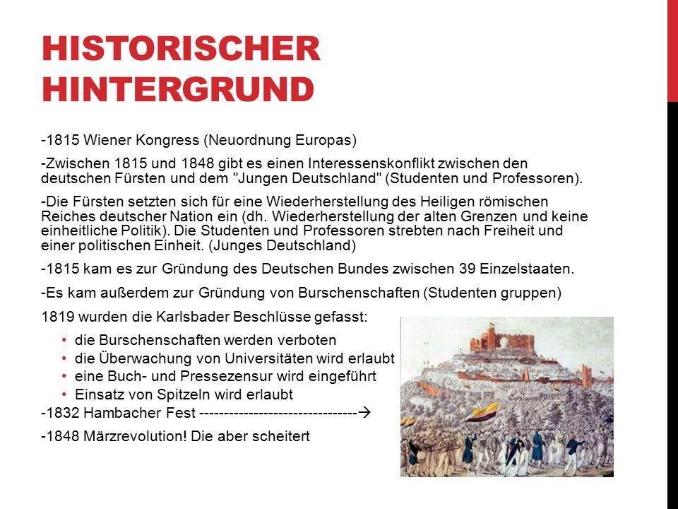 HISTORISCHER HINTERGRUND -1815 Wiener Kongress (Neuordnung Europas) -Zwischen 1815 und 1848 gibt es einen Interessenskonflikt zwischen den deutschen F