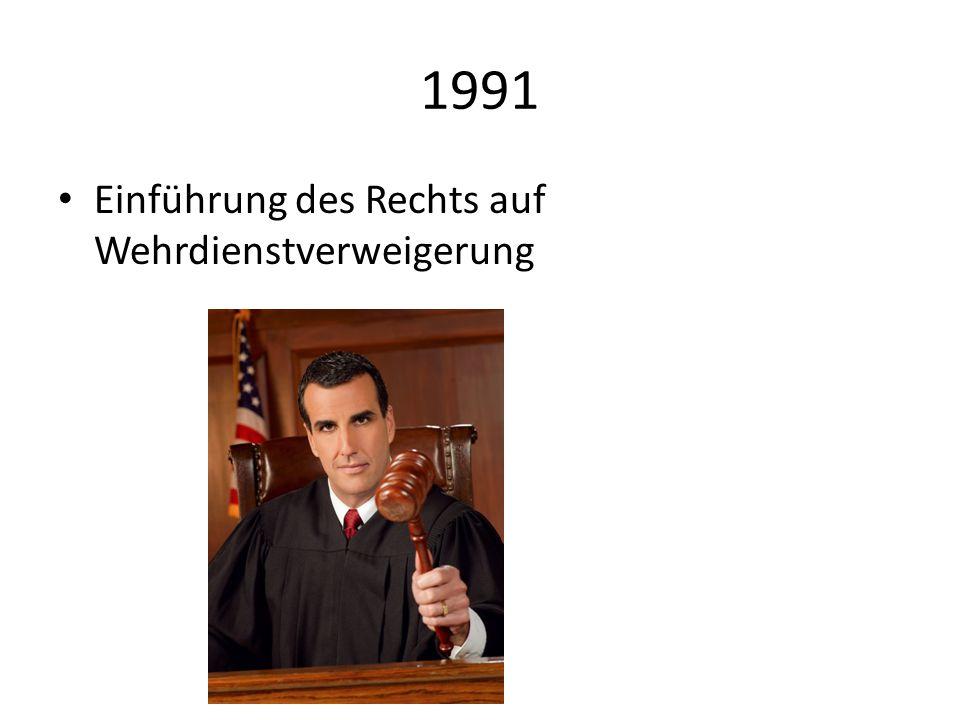 1991 Einführung des Rechts auf Wehrdienstverweigerung