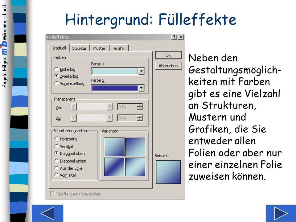Angela Hilger München - Land Hintergrund auswählen Sie können entweder ein vorgefertigtes Foliendesign übernehmen oder den Hintergrund selbst gestalten.