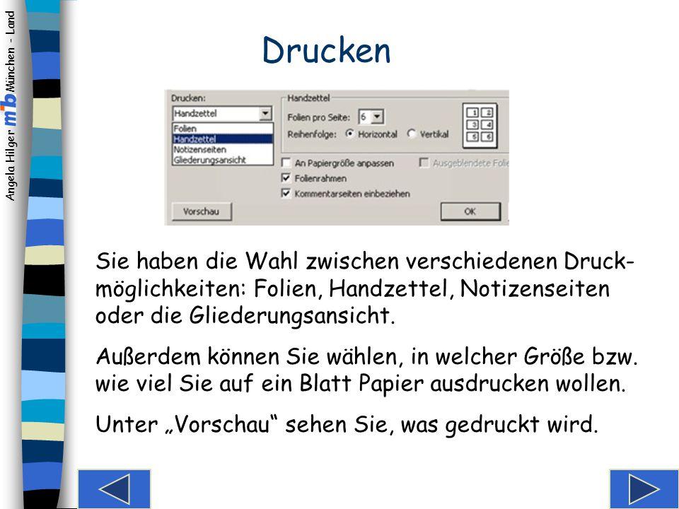 """Angela Hilger München - Land Notizen erstellen Wenn Sie """"Notizenseite wählen, sehen Sie sowohl die Folie als auch Ihre Notizen dazu."""
