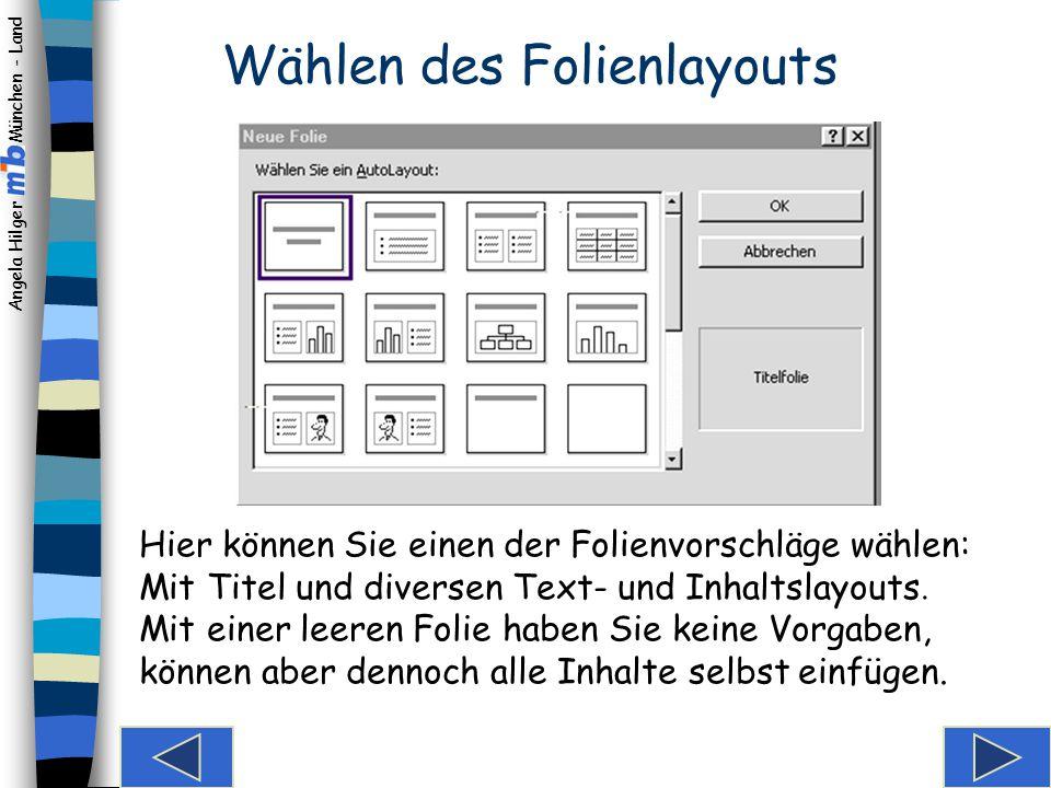 Angela Hilger München - Land Je nachdem, wie Powerpoint eingestellt ist, erscheint eines dieser Fenster. Neue Präsentation Der Startbildschirm: