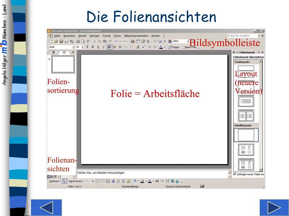 Angela Hilger München - Land Wählen des Folienlayouts Hier können Sie einen der Folienvorschläge wählen: Mit Titel und diversen Text- und Inhaltslayouts.