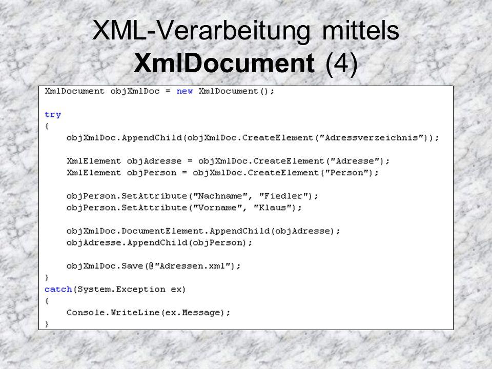 XML-Verarbeitung mittels XmlDocument (4)
