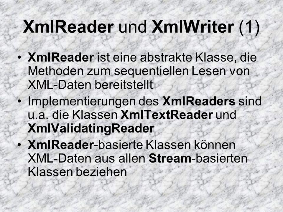 XmlReader und XmlWriter (1) XmlReader ist eine abstrakte Klasse, die Methoden zum sequentiellen Lesen von XML-Daten bereitstellt Implementierungen des