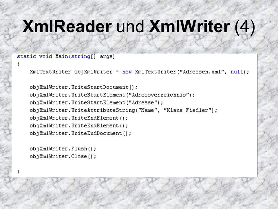 XmlReader und XmlWriter (5) Der sequentielle Datenzugriff verhindert eine effiziente Navigation durch den XML- Baum Vorteilhaft ist die höhere Geschwindigkeit beim Lesen und Schreiben von XML- Daten