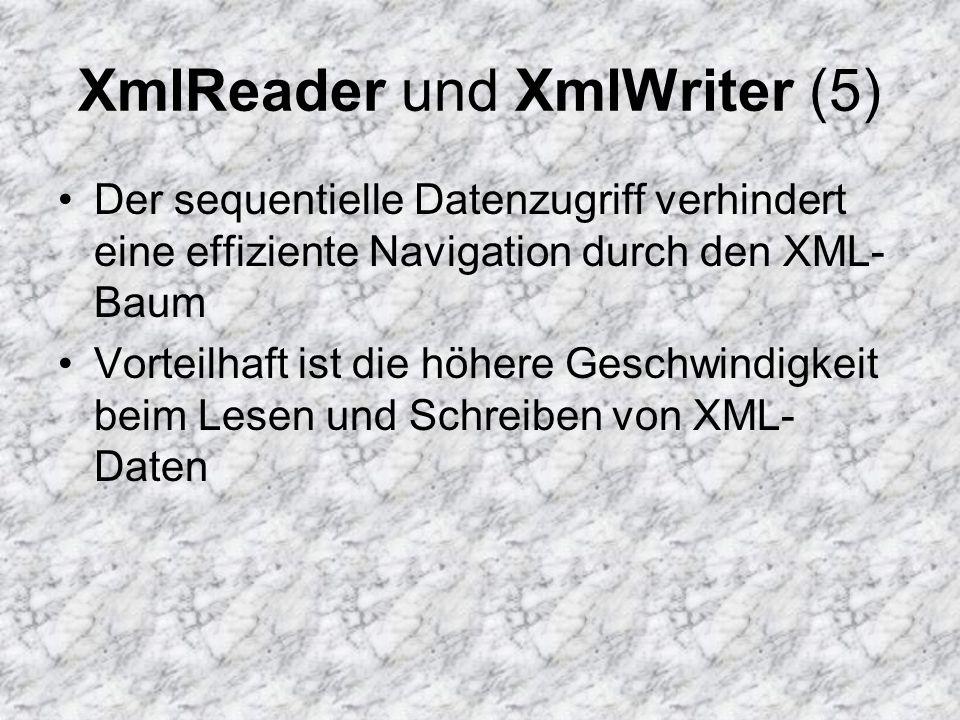 XmlReader und XmlWriter (5) Der sequentielle Datenzugriff verhindert eine effiziente Navigation durch den XML- Baum Vorteilhaft ist die höhere Geschwi